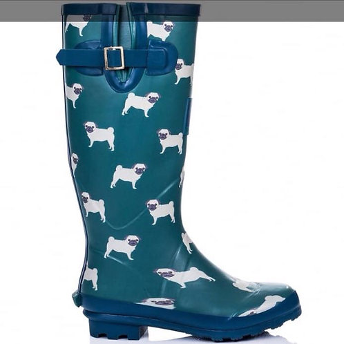 Blue Pug Wellies