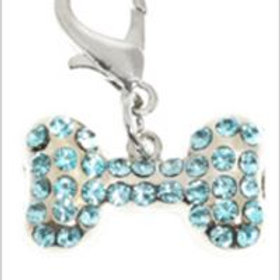 Swarovski Bone Dog Collar Charm (Aquamarine Crystals)
