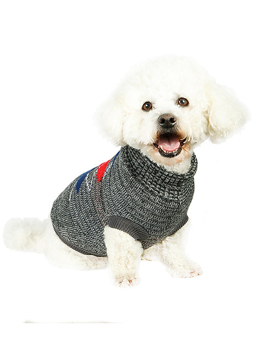 Charcoal Grey / Red Argyle Sweater