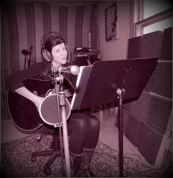 Keri in the recording studio