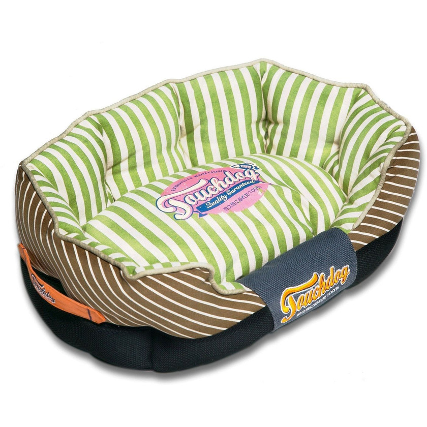 Neutral-Striped Rectangular Rounded Dog Bed