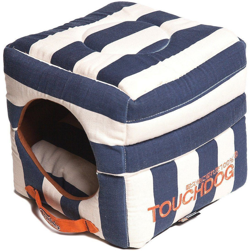 Polo-Striped Collapsible Dog Bed