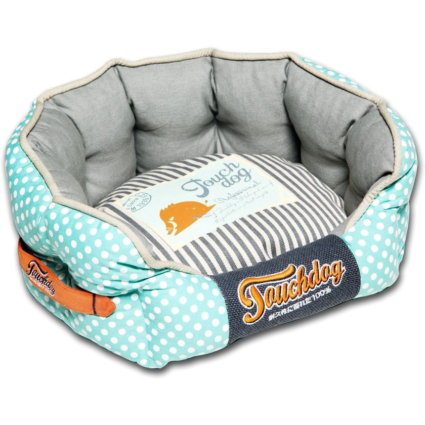 Polka-Striped Rounded Dog Bed