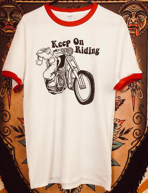 KEEP ON RIDING retro ringer shirt