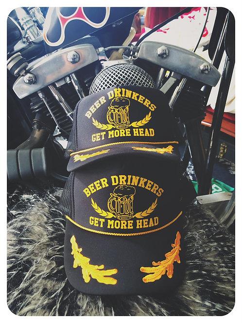 """""""BEER DRINKERS GET MORE HEAD"""" Captain Trucker hat"""