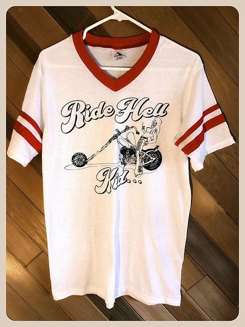 Ride Hell Kid V Neck Jersey striped ringer shirt