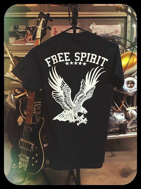 """""""free spirit"""" flying eagle black tee shirt"""