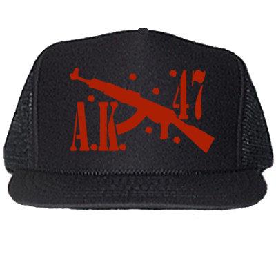 AK 47 BLACK TRUCKER HATS