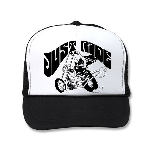 """JUST RIDE"" BEARDED BIKER WHITE/BLACK HATS"