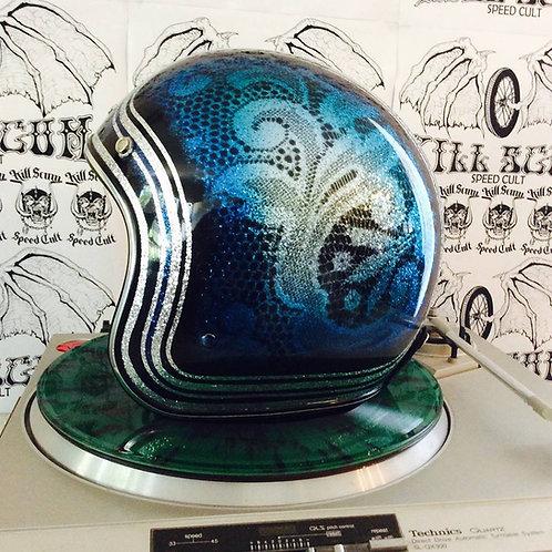 DELTA BLUES 3/4 open face mega flake custom helmet