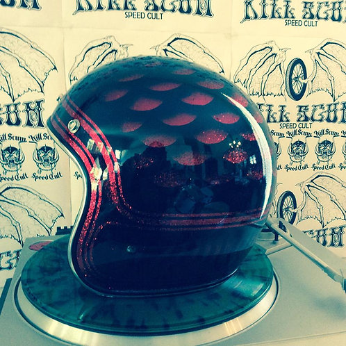 FIRE DRAGON 3/4 open face custom red flake helmet