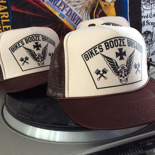 BIKES BOOZE BROADS brown & tan trucker hat