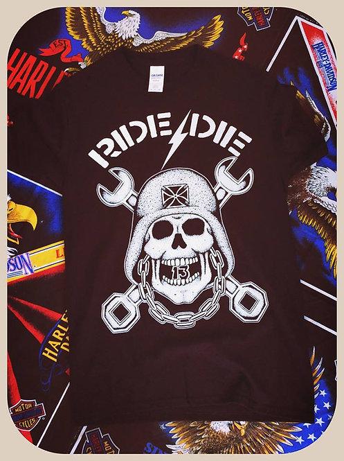 """""""Ride or Die"""" crossed wrench & helmet skull shirt"""