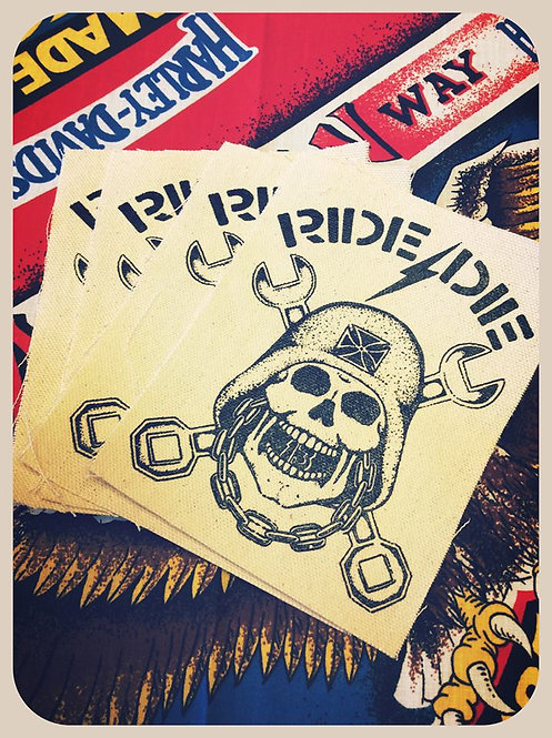 Ride or Die skull & crossed wrench canvas patch