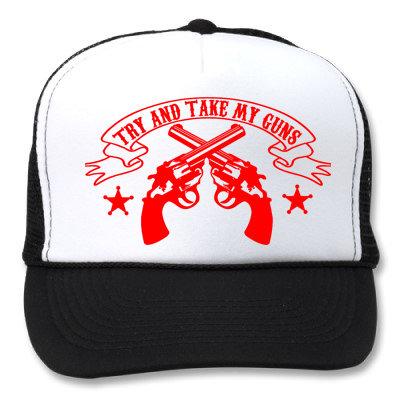 TRY & TAKE MY GUNS WHITE/BLACK HATS