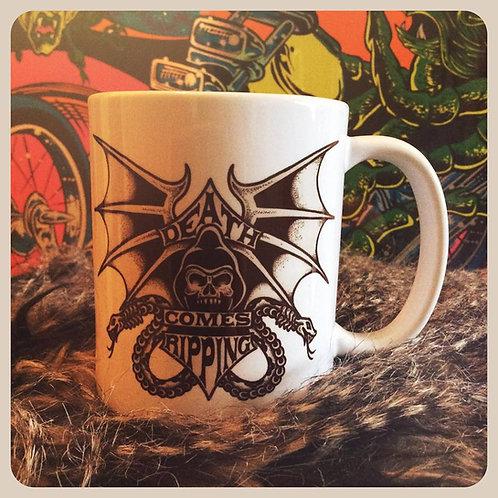 """Death Comes Ripping"" 11 oz ceramic coffee mug"