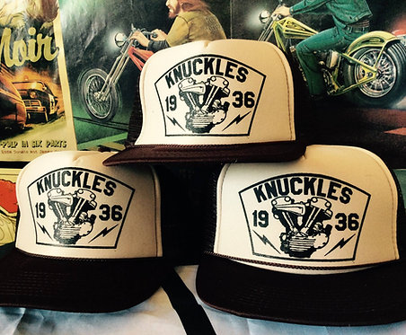 KNUCKLES throw-back tan/brown trucker cap