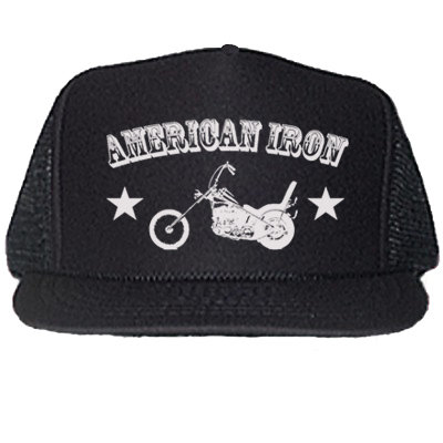 """AMERICAN IRON"" BLACK TRUCKER HATS"