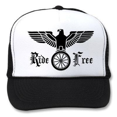 """RIDE FREE"" GERMAN EALGE WHITE/BLACK HATS"