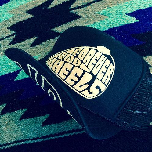 FOREVER TWO WHEELS PEANUT TANK BLACK TRUCKER HATS