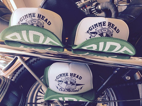 """gimme head on a panhead"" Bud green trucker hats"