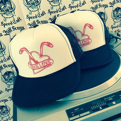 """True Love"" Heart & Handlebars babe trucker hats"