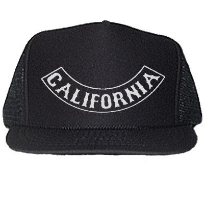 CALIFORNIA ROCKER PATCH BLACK TRUCKER HATS