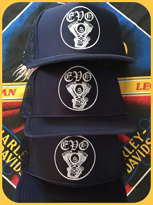 Navy blue EVO engine trucker hats with snap back