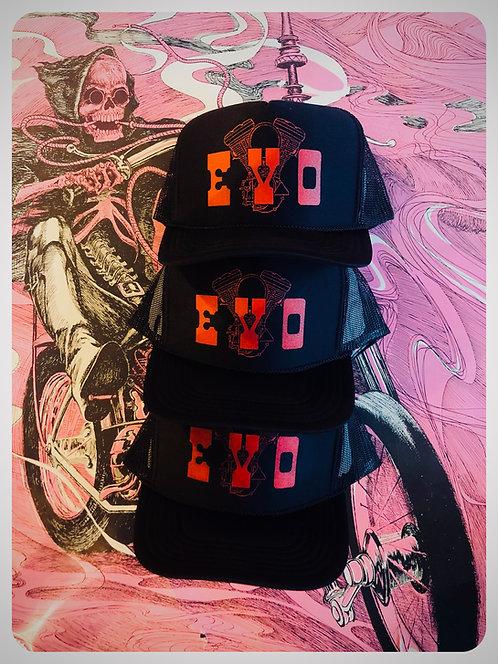 EVO ENGINE black & red trucker hats