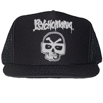 PSYCHOMANIA BLACK TRUCKER HATS