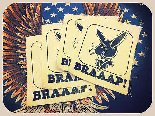 Braaap! Biker Playboy bunny canvas patches