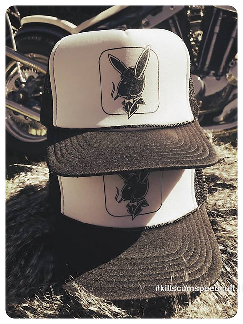 Biker Bunny black & white trucker hat Playboy style