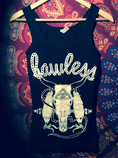 """Womans Tank top """"lawless"""" feathered bison skull"""