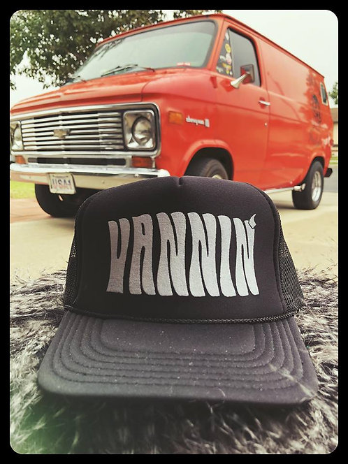 Vannin' solid black adjustable size trucker hat