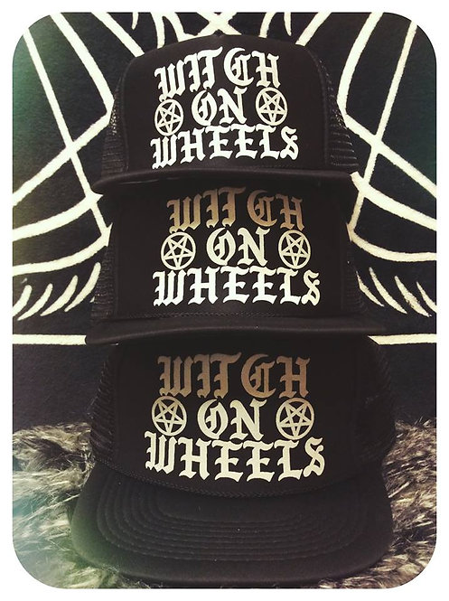 """""""Witch On Wheels"""" Solid black classic trucker hat with adjustable snapback"""