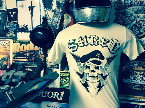 SHRED Rock N Roll Commando Natural White Tees