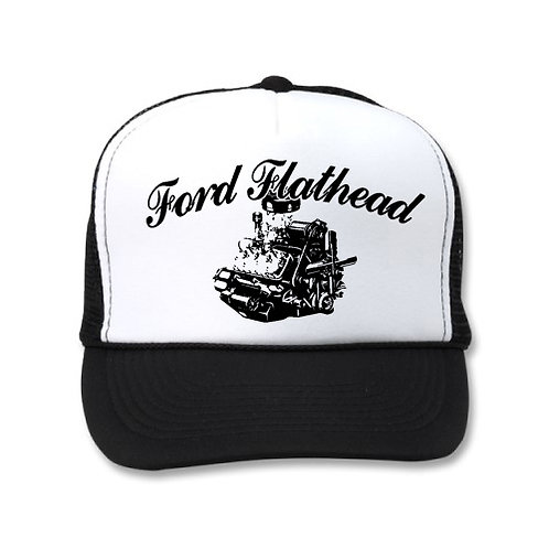 FORD FLATHEAD ENGINE WHITE/BLACK HATS