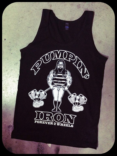 """Pumpin' Iron"" black sleeveless mens tank tops"