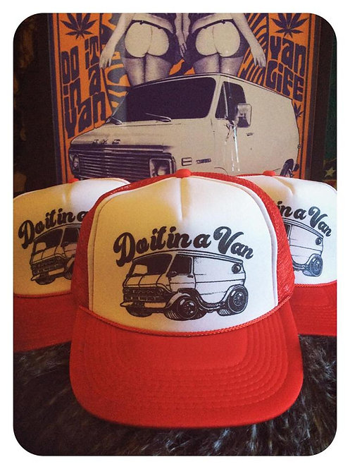 """Do it in a van""Ford Econoline classic red & white trucker"
