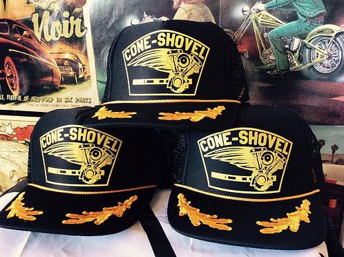 CONE-SHOVEL Captain engine trucker hat