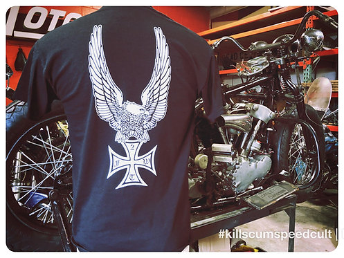 Upwinged & FTW Iron Cross Black 100% cotton tee shirt