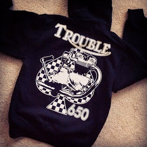 Trouble 650 cafe racer triumph engine hoodie
