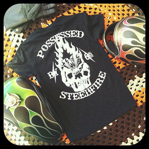 """possessed by steel & fire""  fire skull & engine T"