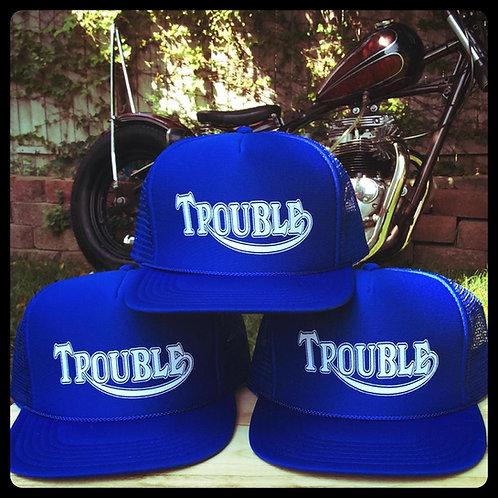 "Triumph style ""Trouble"" Royal Blue trucker hats"