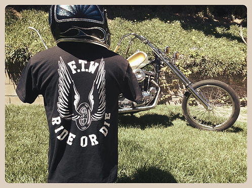 """FTW RIDE OR DIE"" Winged Wheel rear graphic shirt"
