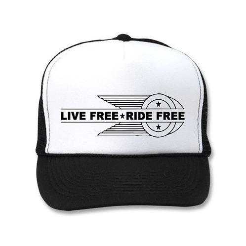 LIVE FREE RIDE FREE OG HD EMBLEM TRUCKERS WHT/BLK