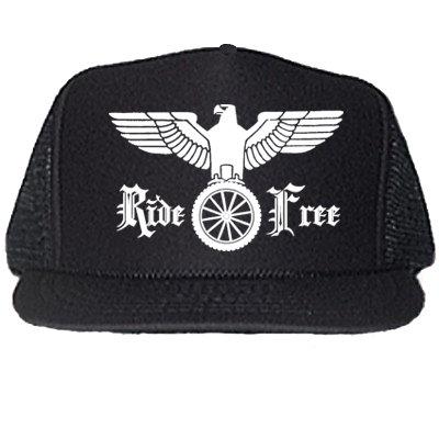 """""""RIDE FREE"""" GERMAN EAGLE BLACK TRUCKER HATS"""