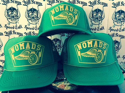 NOMADS winged wheel green trucker cap