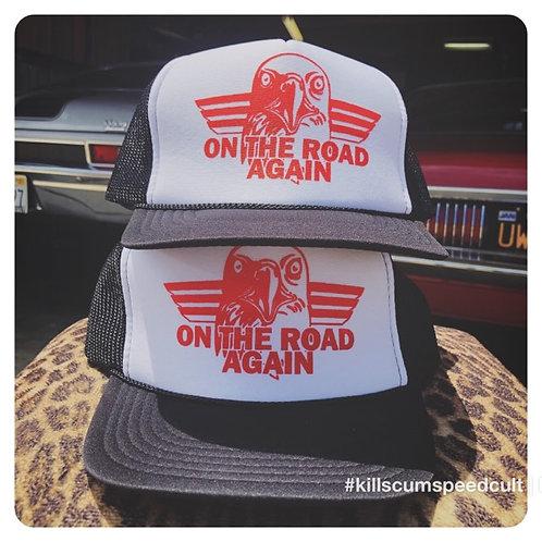 ON THE ROAD AGAIN Orange Eagle Black & white trucker hat