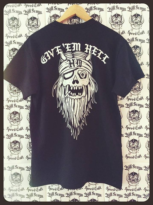 """Give 'em Hell"" Bearded Death black 100% cotton shirt"